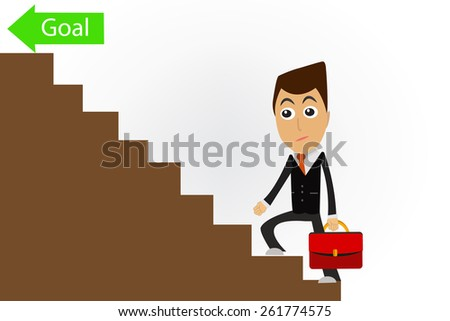 Business man  up the Ladder for goal. - stock vector