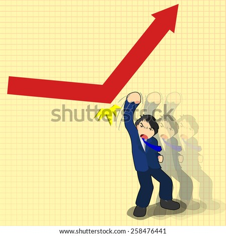business man uppercut on decline arrow for doing arrow go up, business concept in going up economy  - stock vector
