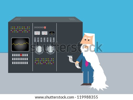 business man using large computer to calculate equation - stock vector
