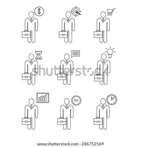 Business man vector icon set - stock vector