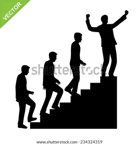 Business man walk on staircase silhouettes vector - stock vector