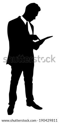 business man walking touchscreen digital tablet, vector  - stock vector