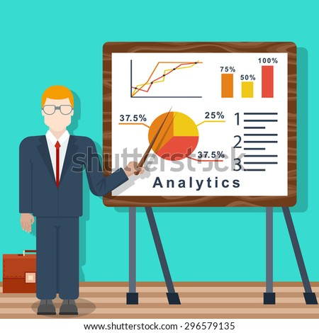 business man  with a pointer points to a board with analytics trade and chart. vector illustrations eps 10. - stock vector