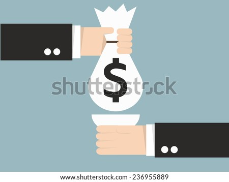 business man with an open hand gives money bag to boss - stock vector