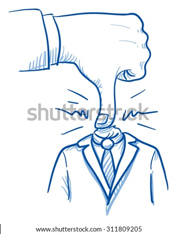Business man with big hand pushing his head, concept for stress, burnout, headache, depression, hard work, bullying, hand drawn doodle vector illustration - stock vector