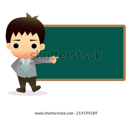 Business man with blackboard - stock vector