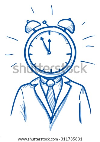 Business man with clock instead of head, concept for stress, time pressure, headache, depression, hand drawn doodle vector illustration - stock vector