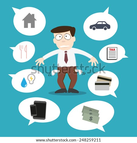 Business man with financial issue - stock vector