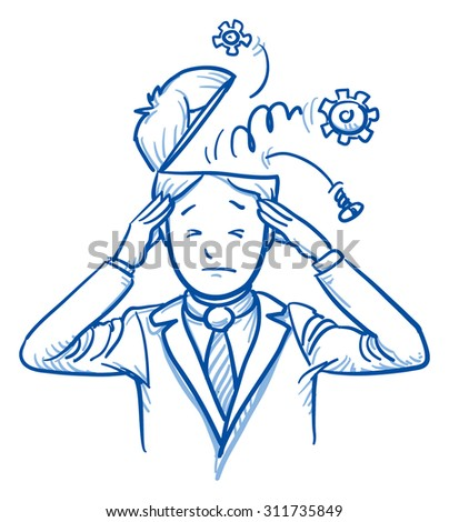 Business man with gears coming out of his head, concept for stress, burnout, headache, hand drawn doodle vector illustration - stock vector