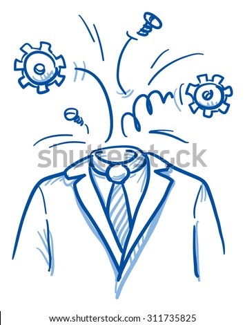 Business man with gears instead of head, concept for stress, burnout, headache, hand drawn doodle vector illustration - stock vector