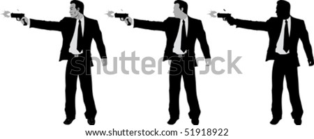 Business man with gun	 - stock vector