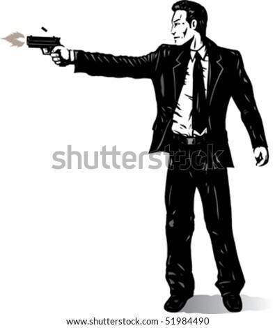 Business man with gun - stock vector