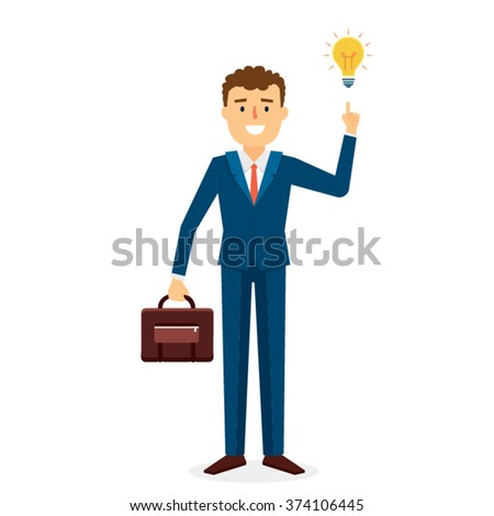 Business Man with Idea Character Design. Vector Illustration - stock vector