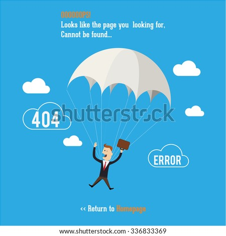 Business man with parachute. Page not found, 404 error. Web page. - stock vector