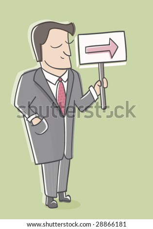 Business Man with Sign - stock vector