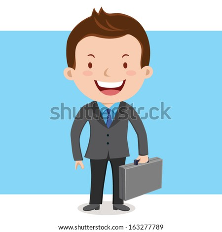 Business man with suitcase - stock vector