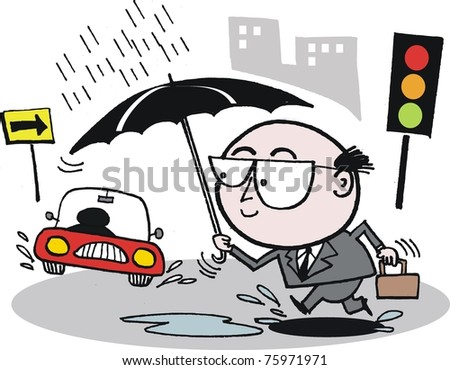 Business man with umbrella cartoon