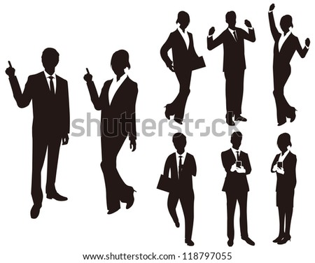 Business man woman silhouettes.Vector