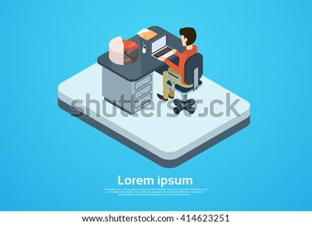 Business Man Work Computer Laptop Workspace 3d Isometric Vector Illustration - stock vector