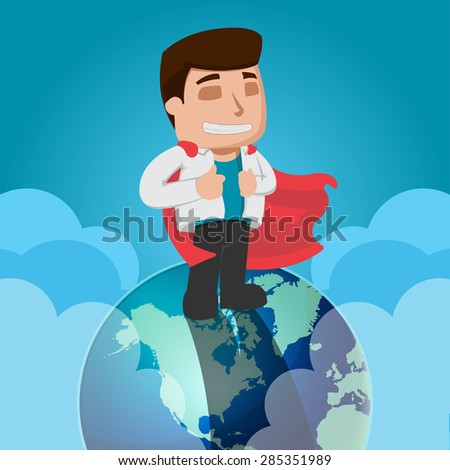 Business Man Worker on Top of the World Vector - stock vector