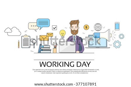 Business Man Working Day Concept Using Laptop Sitting Desk Banner Vector Illustration - stock vector