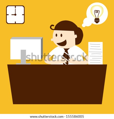 Business man working in table in working hour, EPS10 vector format - stock vector