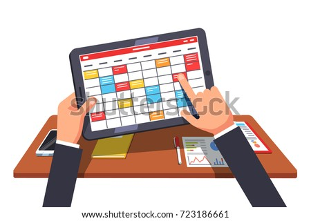 Business man working on tablet pc, planning his project agenda in calendar app. Managing tasks in organizer behind office desk. Flat style vector illustration isolated on white background.