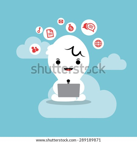 business man working with laptop cloud network concept cartoon illustration - stock vector