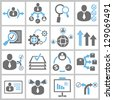 business management and human resource concept icon set - stock vector