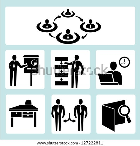 business management, and organization development icon set - stock vector