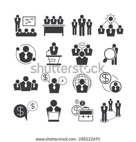 business management and organization icons set