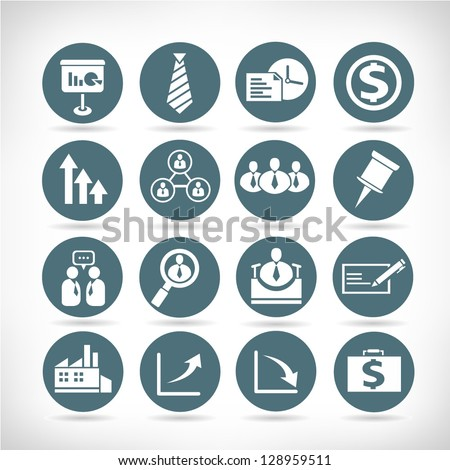business management buttons, icon set - stock vector