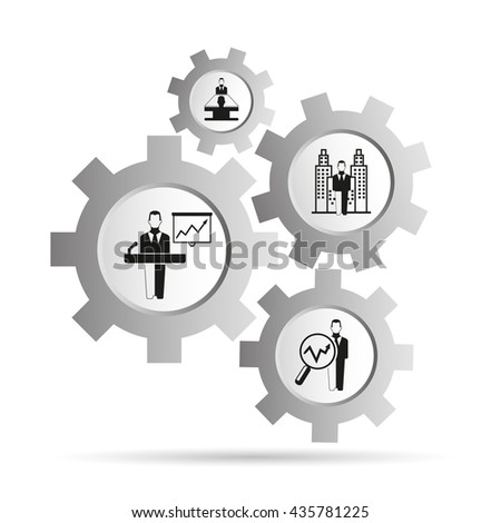 business management concept in gear - stock vector