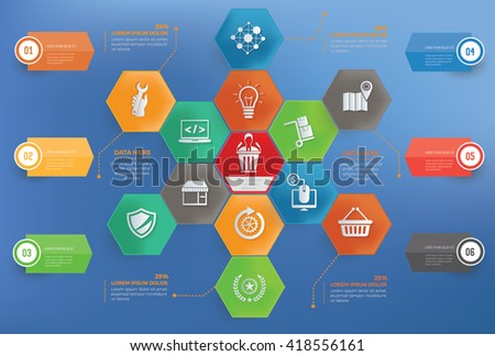 Business management concept info graphic design on blue background,vector