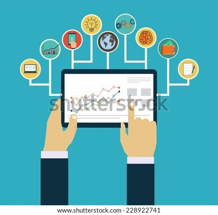 Business management concept, Interaction hands using mobile apps, concept  mobile apps - stock vector