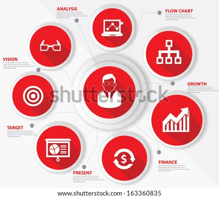 Business management concept,Red version,vector - stock vector