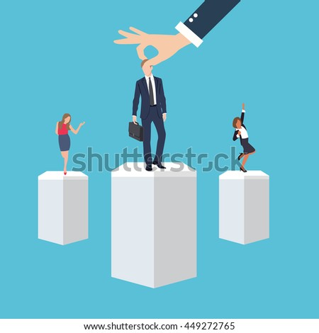 business management employee worker executive human resource put right man in the right place position select applicant during recruitment process - stock vector