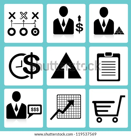 business management, financial icon set, marketing - stock vector