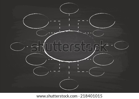 Business Management Flow Chart Circles Hand Drawn On Blackboard - stock vector