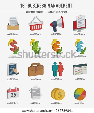 Business management icon set,clean vector - stock vector