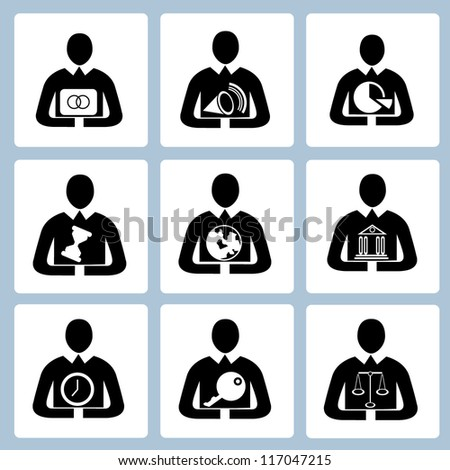 business management icon set, human resource set, person, office people set - stock vector