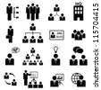 Business management icon set in black - stock photo