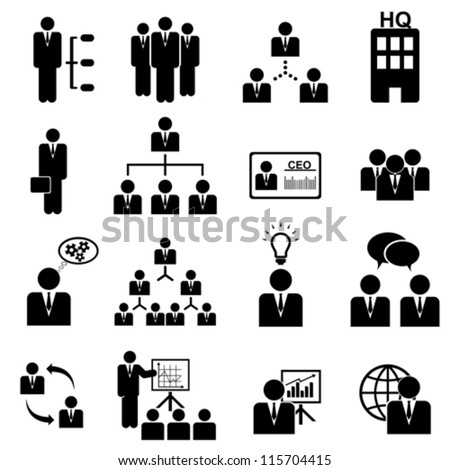 Business management icon set in black - stock vector