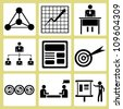 business management icon set, simple vector - stock photo