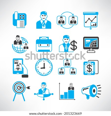 business management icons, office icons set, blue theme - stock vector