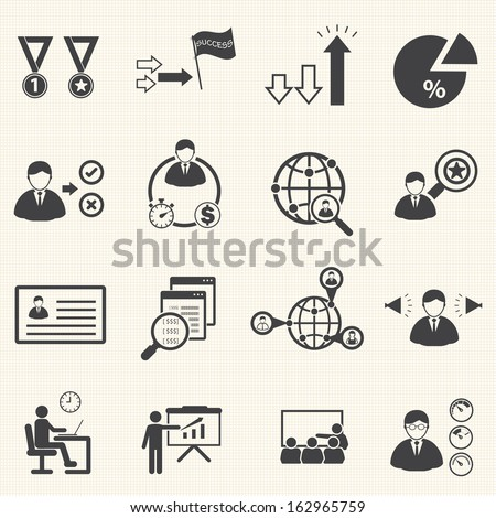 Business management icons set - stock vector