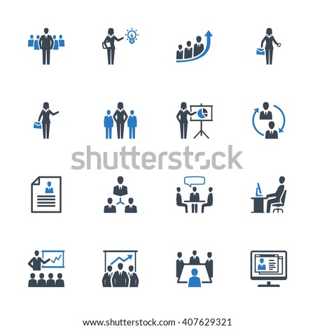 Business Management Icons Set 1 - Blue Series - stock vector