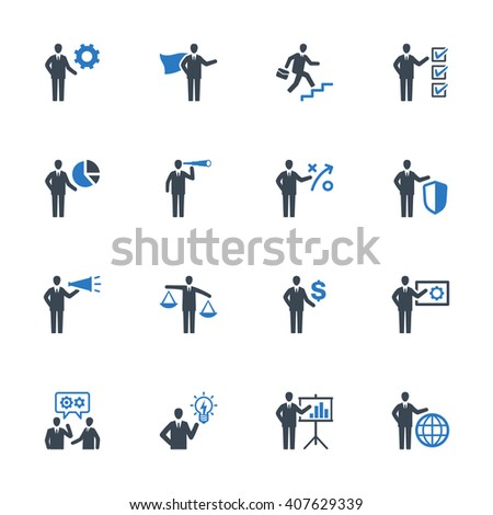 Business Management Icons Set 2 - Blue Series - stock vector