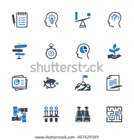 Business Management Icons Set 3 - Blue Series - stock vector