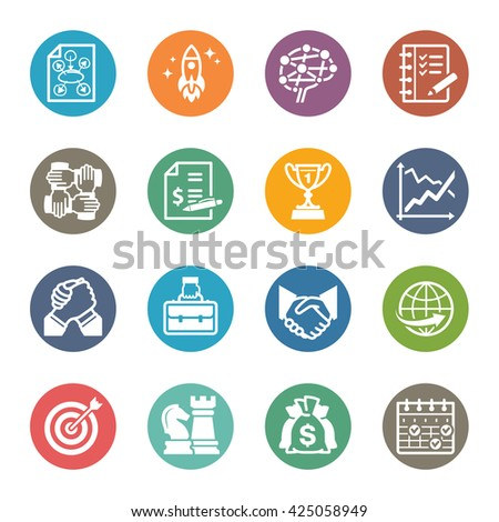 Business & Management Icons Set 4 - Dot Series - stock vector